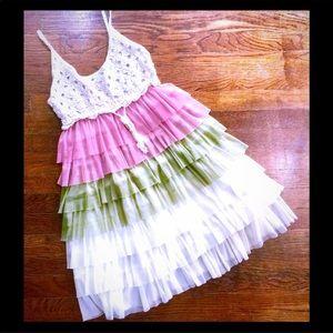 SPRING FLING Crochet layers ruffle dress